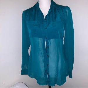 Candie's Sheer Collared Button Down Blouse, sz XS